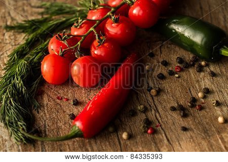 red hot chili peppers and tomatoes for acute Mexican party. tasty and exotic