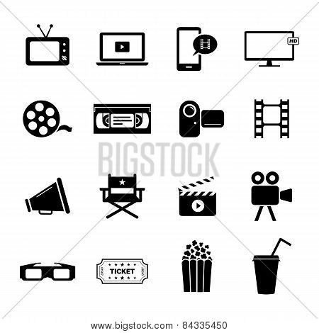Set of black flat icons related to cinema, films and movie industry