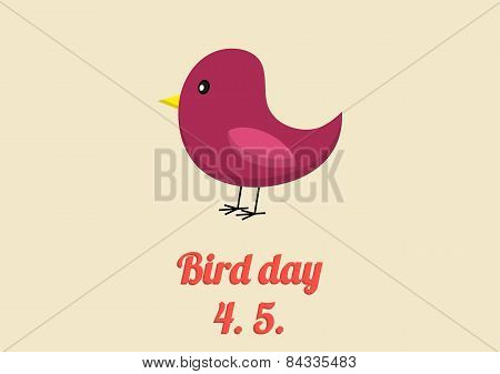 Bird Day Card In Vintage Colors
