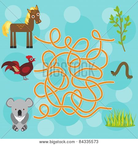 Chicken, Horse, Koala Labyrinth Game For Preschool Children. Vector