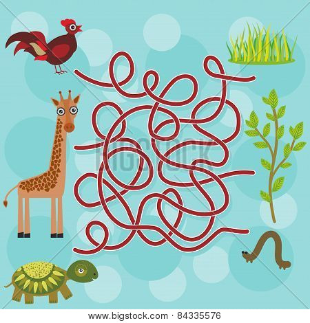 Chicken, Giraffe, Turtle, Labyrinth Game For Preschool Children. Vector
