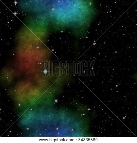 Space Illustration With Stars And Colorful Nebula
