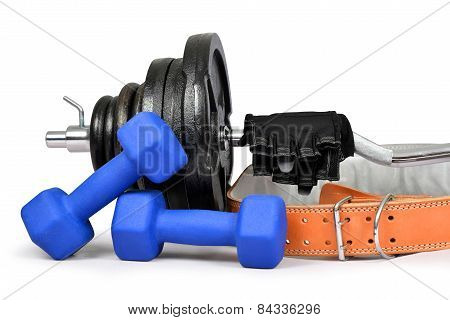 Dumbbells with belt and gloves