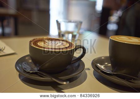 Cups Of Coffee On Table