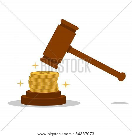 Isolated cartoon law hammer and bribery