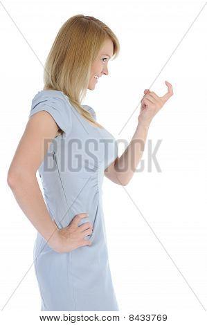 Young Woman Beckoning