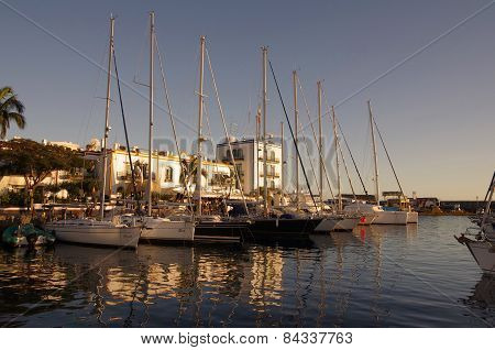 Puerto De Mogan On Sunset