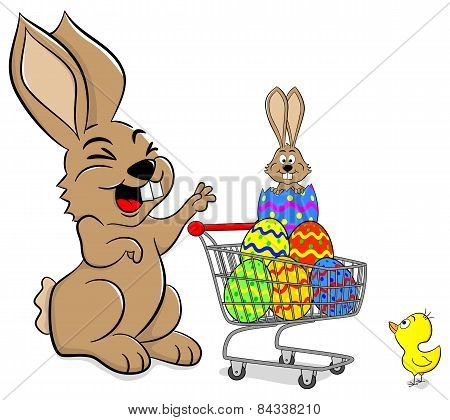 Easter Bunny With Shopping Cart