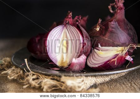 Moody Natural Light Vintage Retro Style Image Of Fresh Red Onions