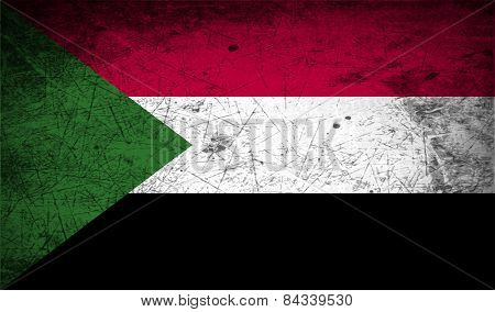 Flag Of Sudan With Old Texture. Vector