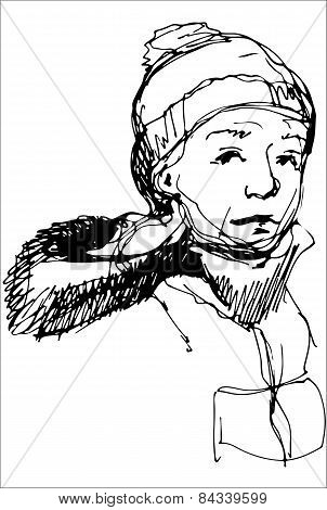 Sketch Of A Boy In A Cap And A Jacket With A Hood