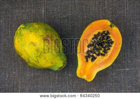 One and a half papayas