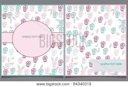 decorative background with two postcards