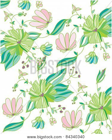 background with green and pink spring flowers