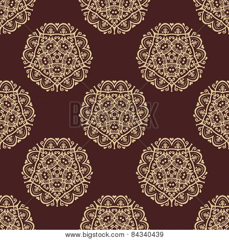 Wallpaper in the style of Baroquen. Abstract  Background with Brown and Golden Colors