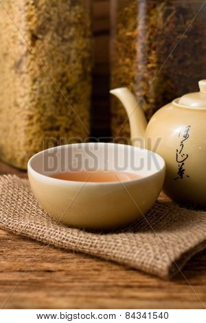 Oriental Tea Cup On Jute Cloth