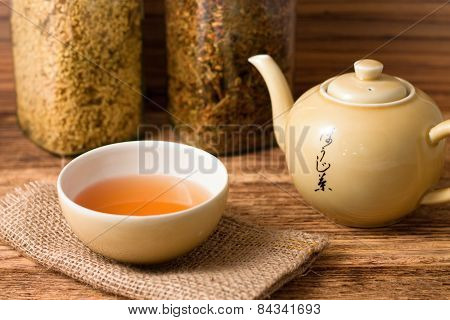 Oriental Tea Service On Jute Cloth And Wooden Board