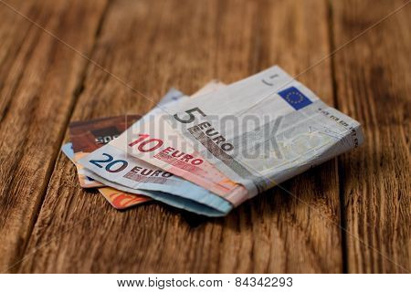 Two Credit Cards Placed In Euro Bills
