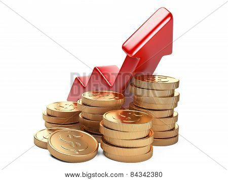Financial Success Concept. Red Arrow Up And Coins
