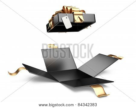 Opened Black Gift Box Blank Gift Tag