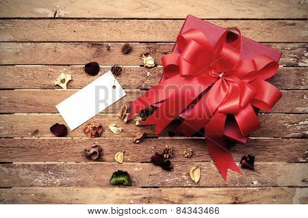 Red Gift Box With Blank Tag