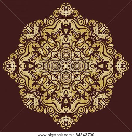 Orient  Pattern. Abstract Ornament with Golden Color