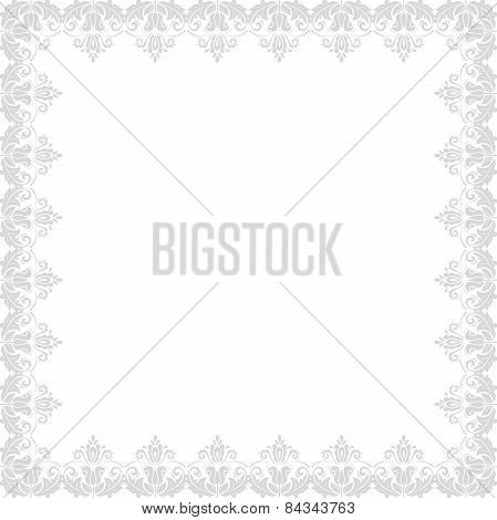 Floral  Frame. Abstract Silver Ornament