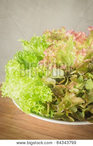Fresh Salad Vegetable On Wooden Background