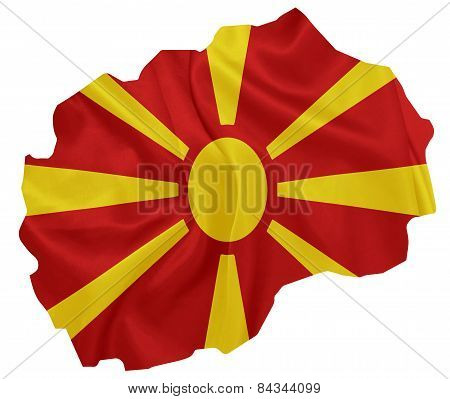 Macedonia - Waving national flag on map contour with silk texture