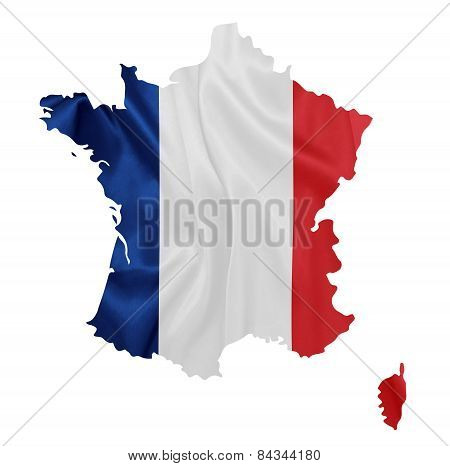 France - Waving national flag on map contour with silk texture