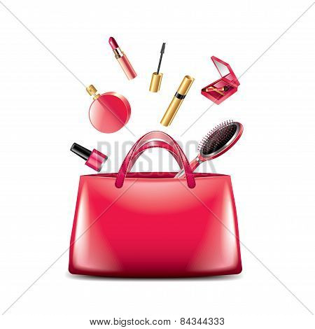 Women Bag With Cosmetics Isolated On White Vector