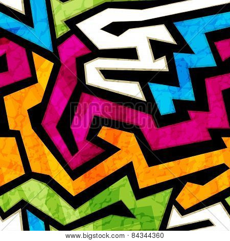 Colored Graffiti Seamless Texture With Grunge Effect