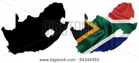 South Africa - Waving national flag on map contour with silk texture