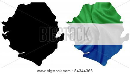 Sierra Leone - Waving national flag on map contour with silk texture