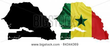 Senegal - Waving national flag on map contour with silk texture