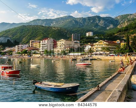 Landscape View On Embankment In Montenegro