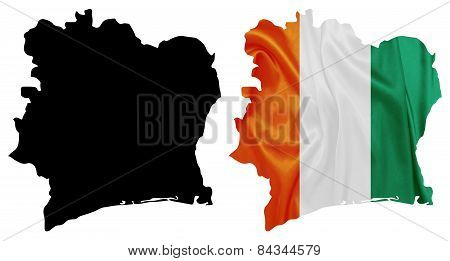 Ivory Coast - Waving national flag on map contour with silk texture