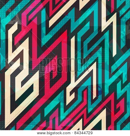 Colorful Maze Seamless Pattern With Grunge Effect