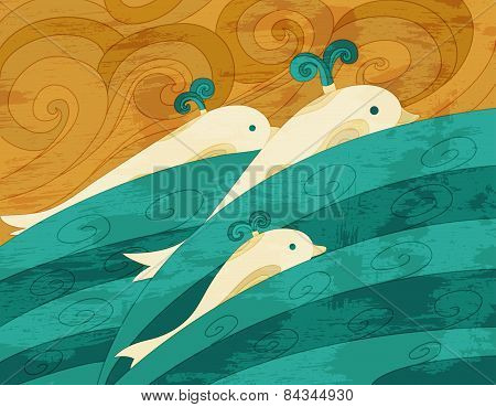 Dolphins Vector Art