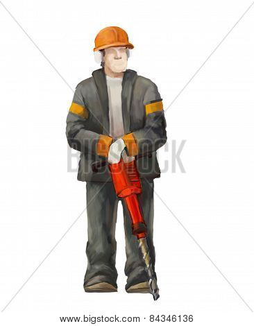 Jackhammer worker illustration