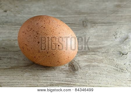 Brown Egg On Old Gray Wood