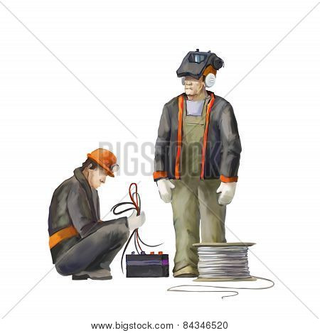 Welder and electrician. Builders working on construction works illustration