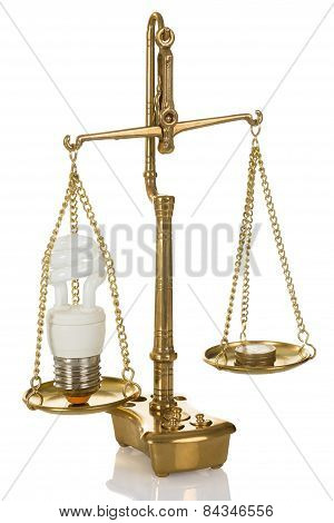 Lightbulb And Coins On Scale