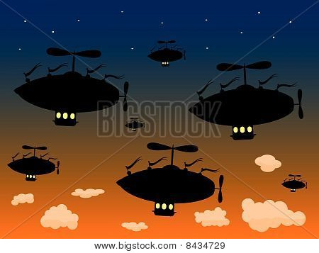 Group of Silhouetted Airship Sail High against dusky sky