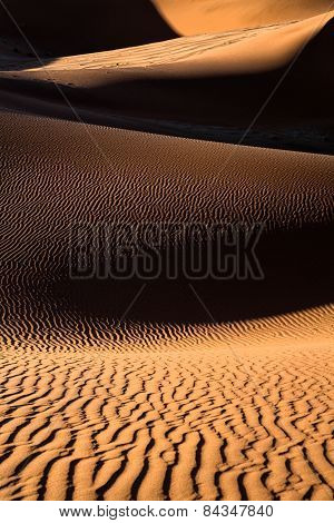 Sand dune abstracts in the golden sands of Namibia