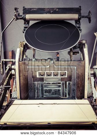 Vintage Printing Press Machine Close Up