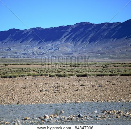 Valley Hill   In   Africa Morocco The Atlas Dry Mountain Ground Isolated