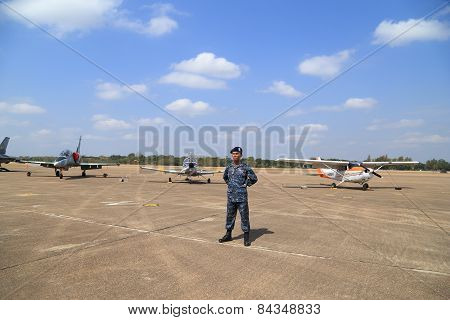 Soldier With Airplane Display/show On Children's Day At Korat Wing 1 Royal Thai Airforce