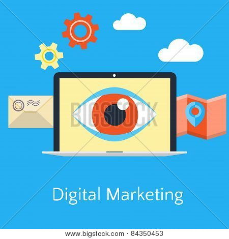 Abstract Flat Vector Illustration Of Digital Marketing Concept