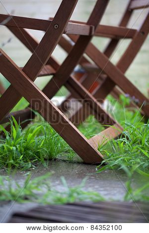 Wooden Folding Chairs In A Garden With Green Grass